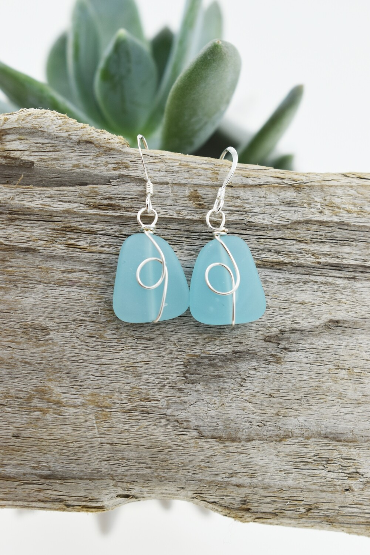 Organic Silver Wired Seaglass Earrings