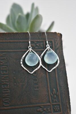 Aqua Chalcedony Quartz Silver Earrings