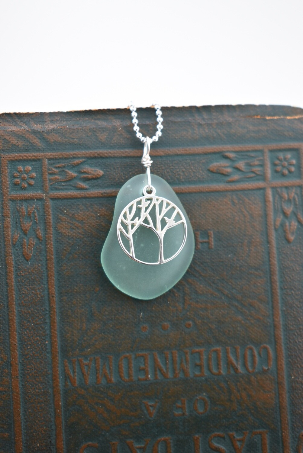 Seaglass Necklace with Detailed Tree Of Life Accent (matching earrings available)