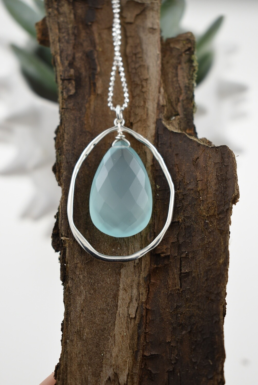 Aqua Chalcedony Quartz - Organic Silver Necklace