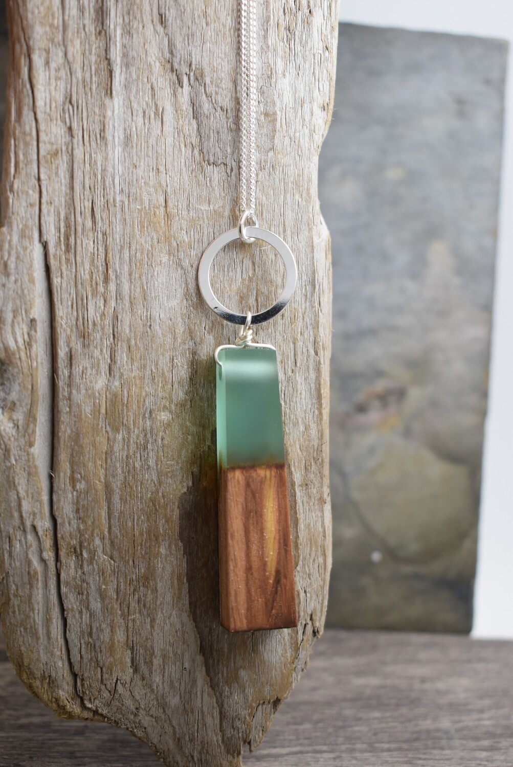 Olive wood and matte resin long Necklace