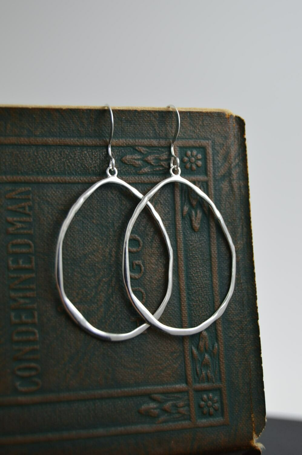 Sterling Silver organic oval drop earrings