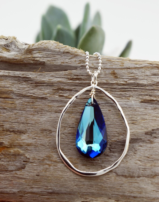 Swarovski Crystal Necklace in Bermuda Blue- Organic Silver Necklace