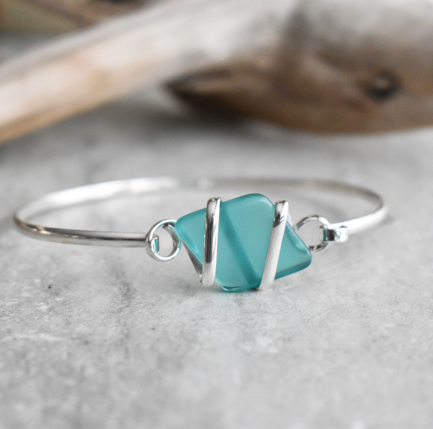 Sterling Silver wrapped Seaglass Bangle Bracelet