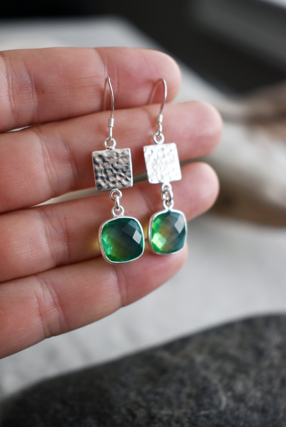 Hammered Silver Earrings with Aura Quartz Drop