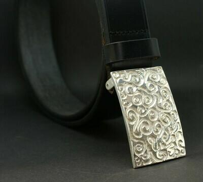 Gürtel, schwarz 105cm mit Gürtelschließe aus 925/- Silber