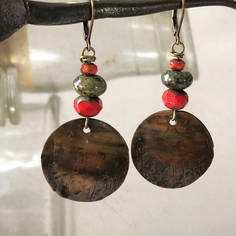 Rustic Prairie Copper Earrings