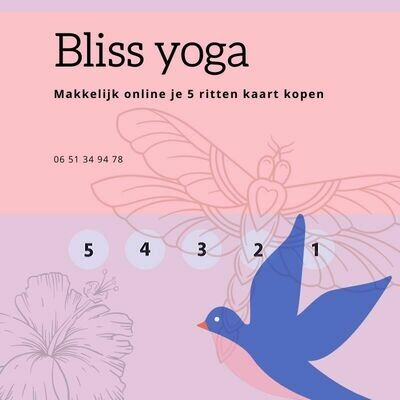 Bliss Yoga 5 rittenkaart