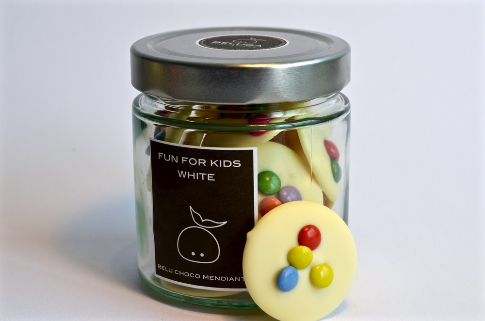 Glass Mendiants Fun for Kids White Chocolate