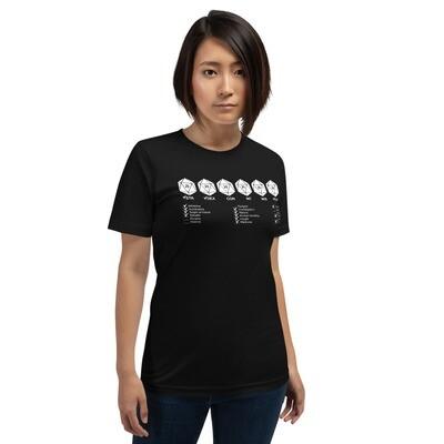 Stats on a Nerd Quest Short-Sleeve Unisex T-Shirt
