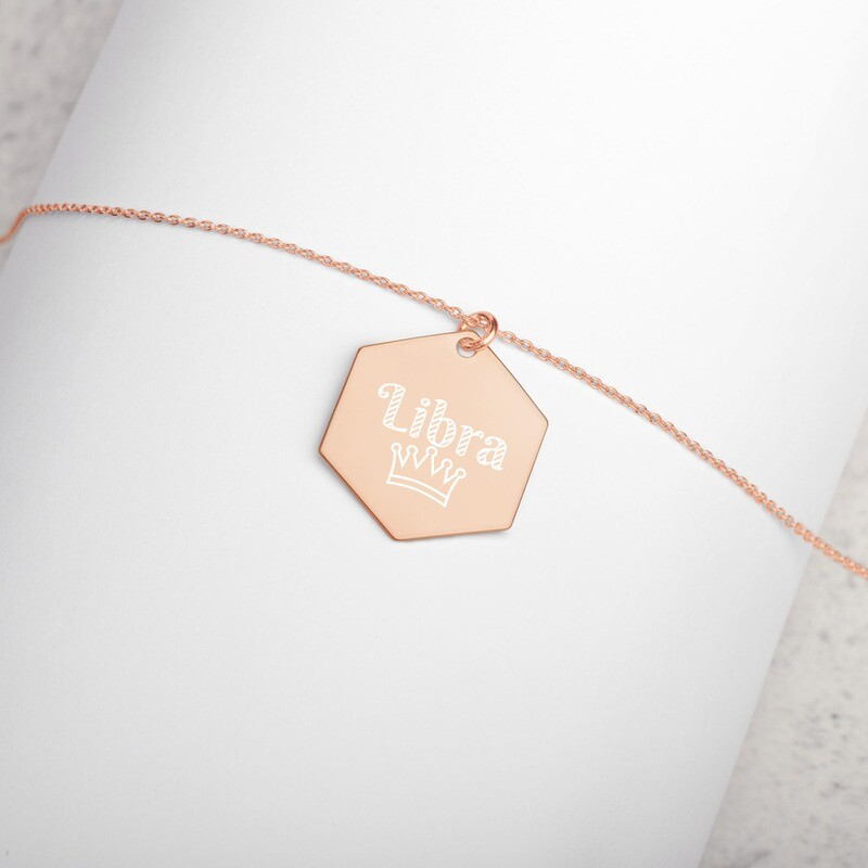 Libra Princess Engraved Silver Hexagon Necklace