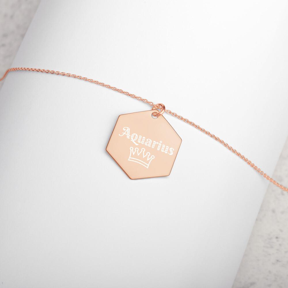 Aquarius Princess Engraved Silver Hexagon Necklace