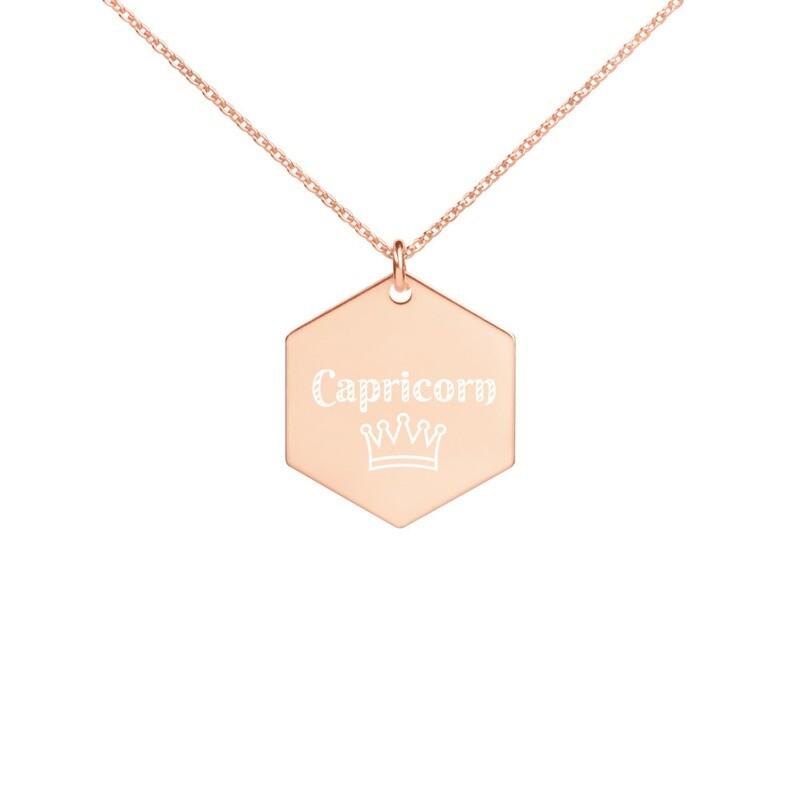 Capricorn Princess Engraved Silver Hexagon Necklace