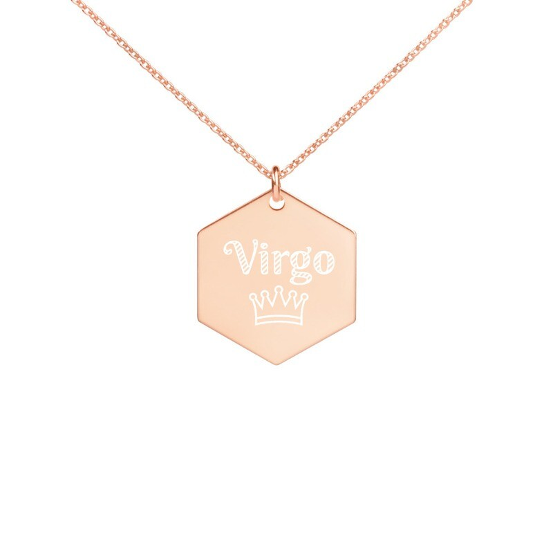 Virgo Princess Engraved Silver Hexagon Necklace