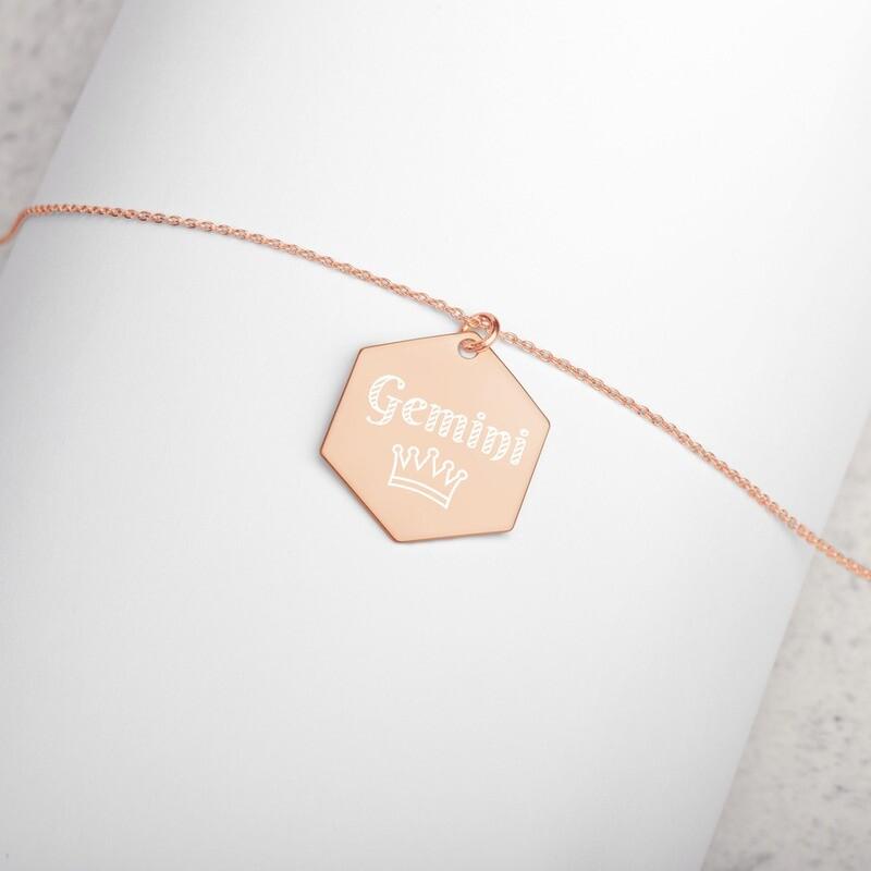 Gemini Princess Engraved Silver Hexagon Necklace