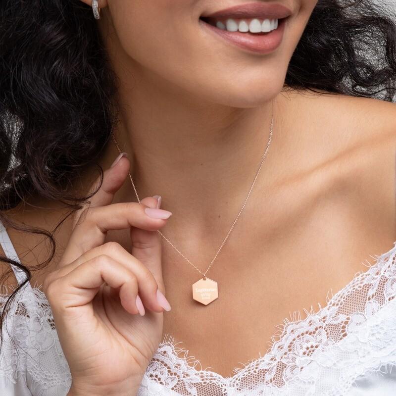Sagittarius Princess Engraved Silver Hexagon Necklace