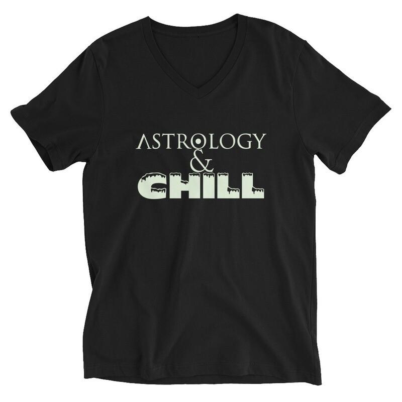 Black Unisex Short Sleeve Astrology & Chill V-Neck T-Shirt