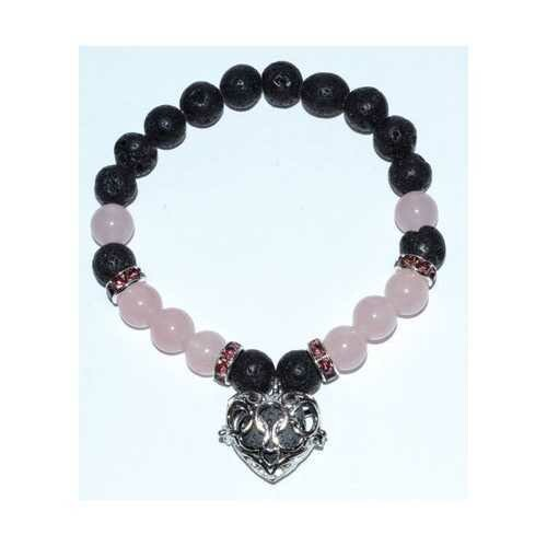 8mm Lava/ Rose Quartz with Aromatherapy