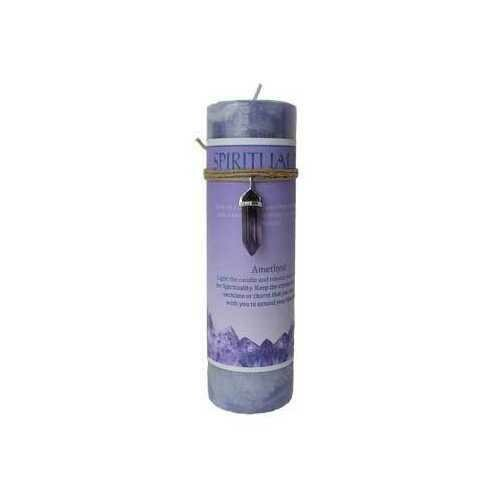 Spirituality pillar candle with Amethyst pendant