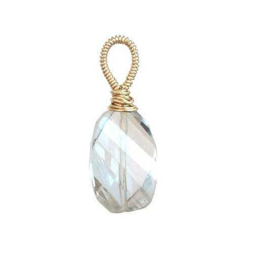 Crystal quartz large round - Gold