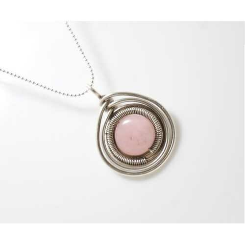 Handmade Rose Quartz Pendant Necklace