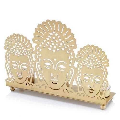 "2.5"" x 8.7"" x 6.5"" Gold Buddha,  3 Lite - Candle Holder"