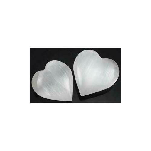 White Selenite heart  1 1/4