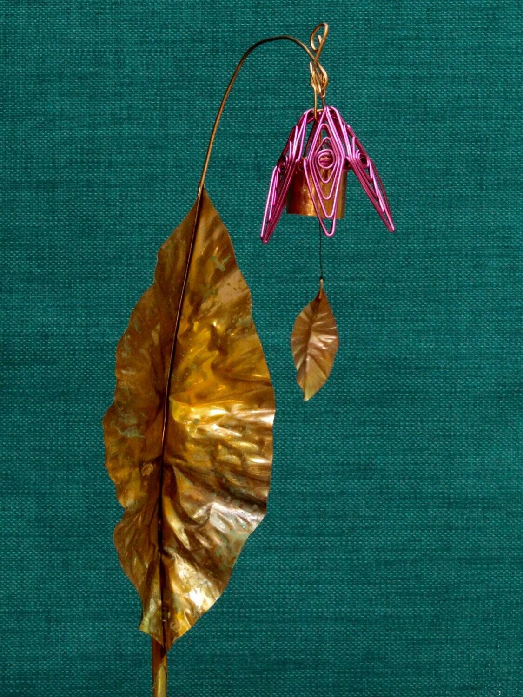 Bellflower Chime Garden Stake Fuschia