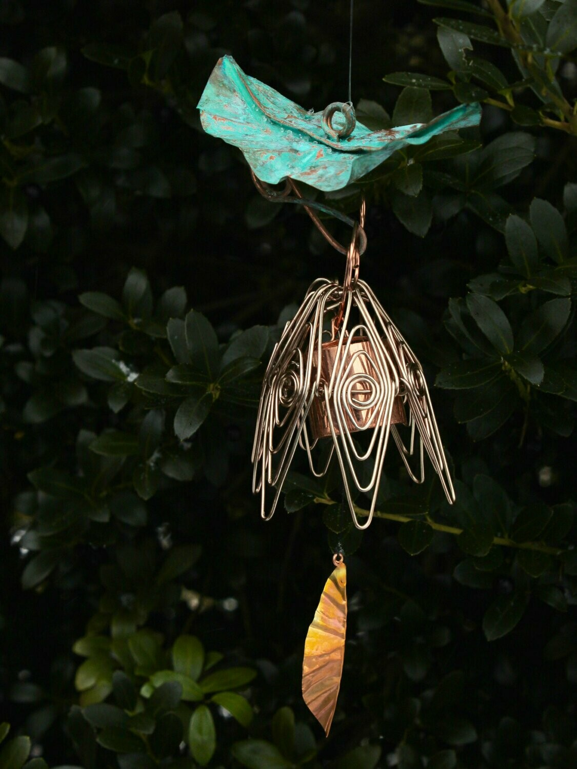 Hanging Bellflower Chime with Patina Leaf Silver Pink