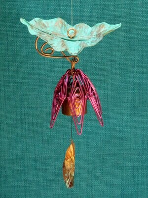 Hanging Bellflower Chime with Patina Leaf Fuschia