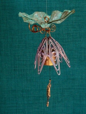 Hanging Bellflower Chime with Patina Leaf Violet