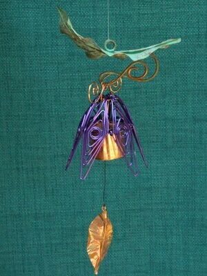 Hanging Bellflower Chime with Patina Leaf Purple