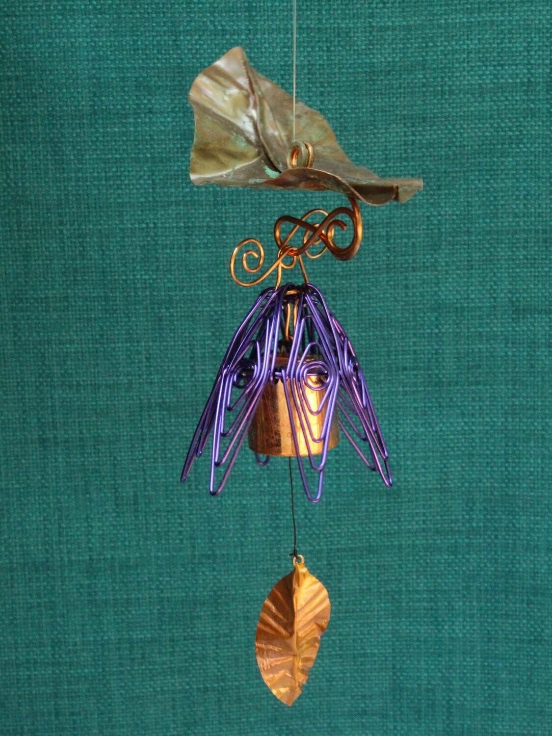 Hanging Bellflower Chime with Dappled Leaf Purple