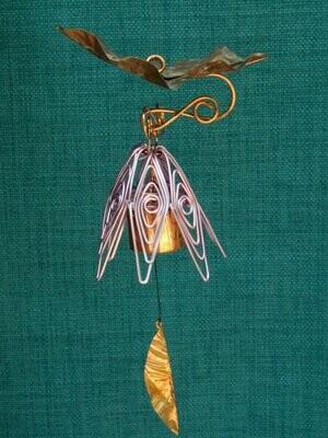 Hanging Bellflower Chime with Dappled Leaf Violet