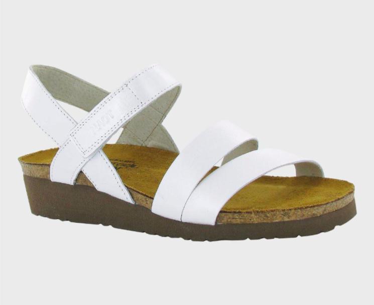 Kayla White Pearl Leather Sandal