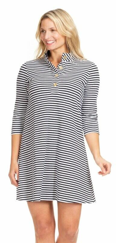 FINAL SALE Kingsley Dress Navy and White Stripe