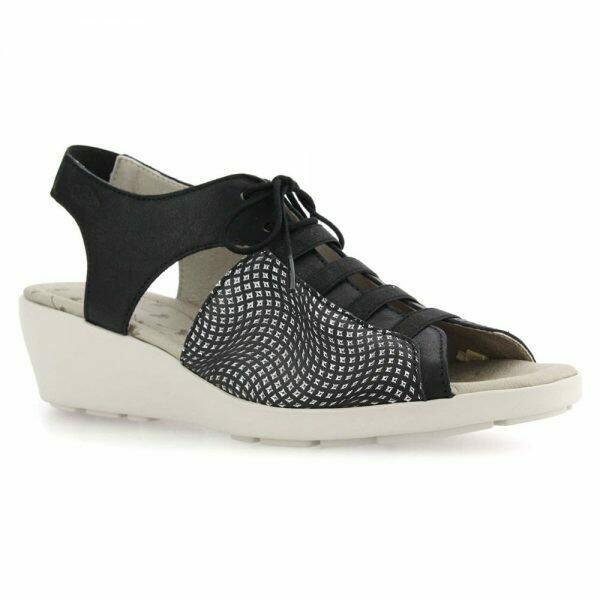 Hattie Black Leather Sandal