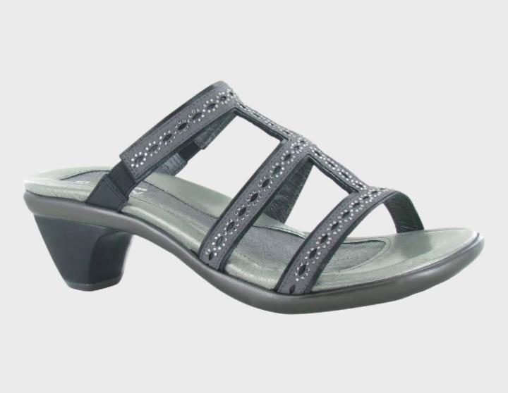 Novel Dark Grey Leather Sandal