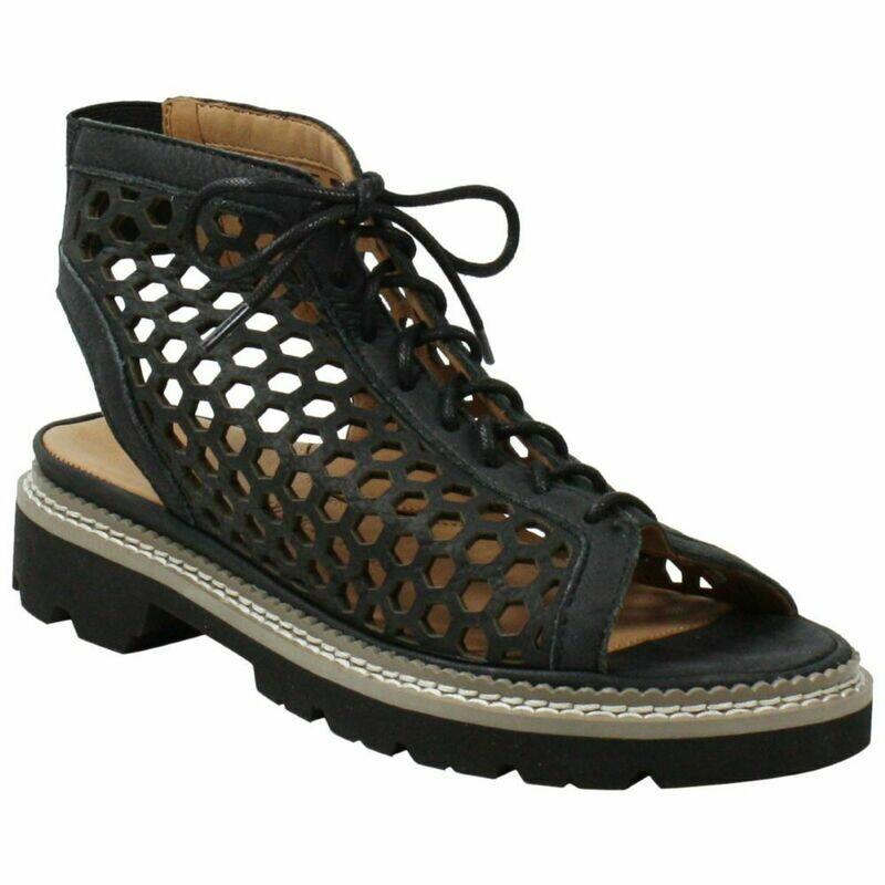 Dantu Black Distressed Nubuck Sandal