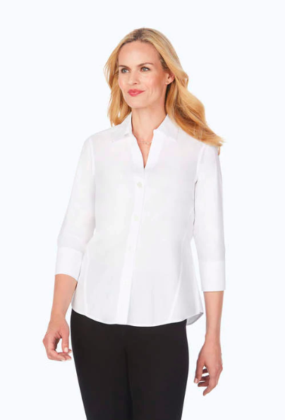 158998 Paityn Pinpoint 3/4 Sleeve White