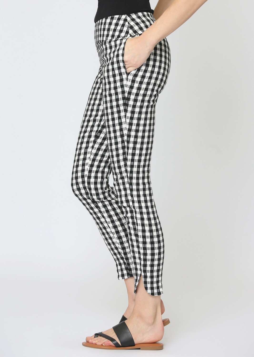FINAL SALE 508764 Gingham Patern 28'' Ankle Pant With Pockets