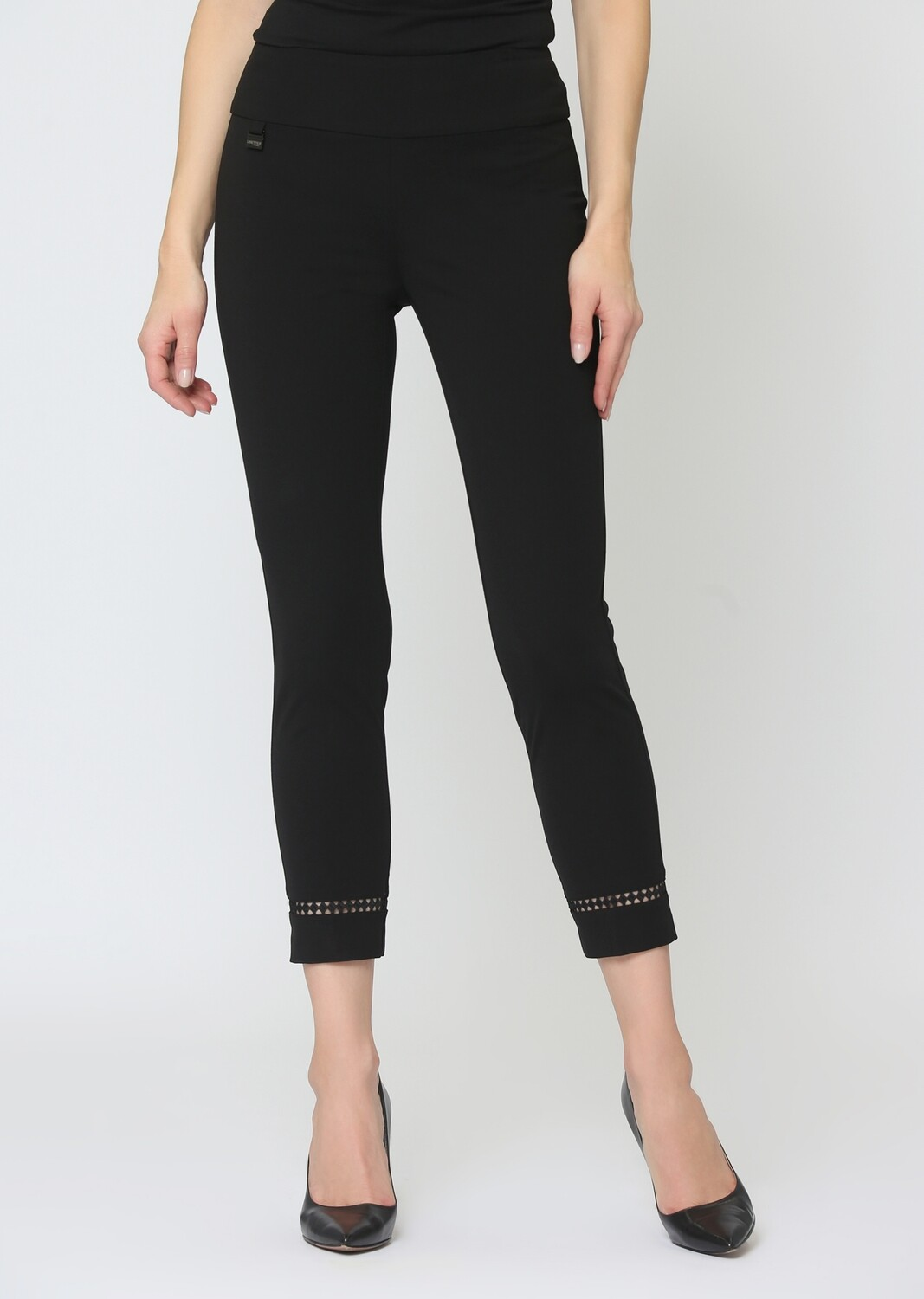 """176947 Lace Insert 26"""" Cropped Ankle Pant"""