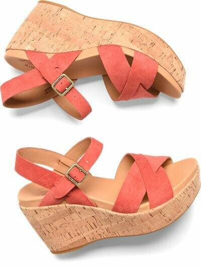 Ava Red Suede Wedge Sandal