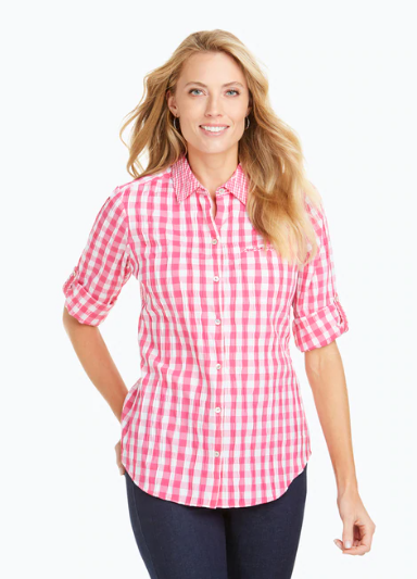 185152 Reese Crinkle Gingham Shirt Rose