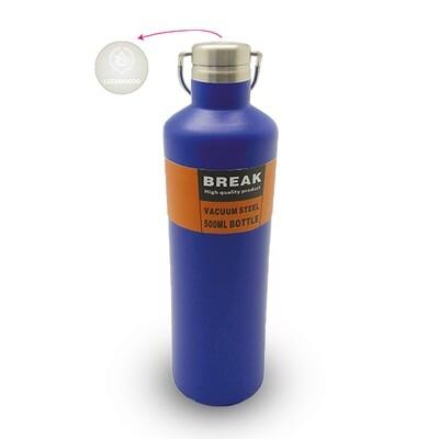 Thermosflasche Break mit Logo, blau