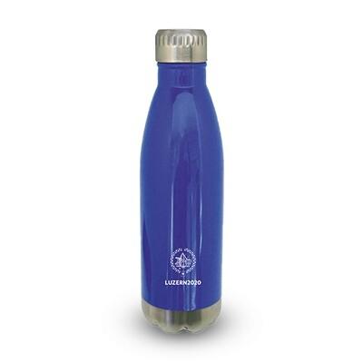 Trinkflasche Primo mit Logo, blau/chrom