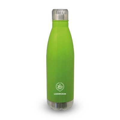 Trinkflasche Primo mit Logo, lime/chrom