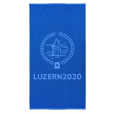 Badetuch 70cmx140cm mit Logo, blau-weiss