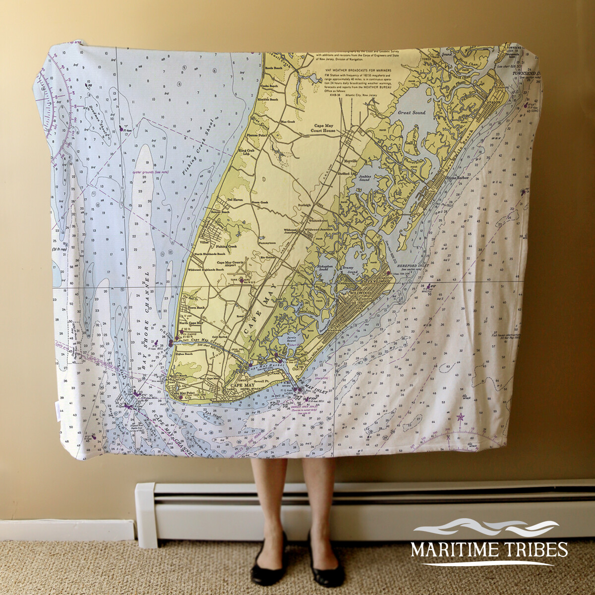 Custom Cape May Blanket-Nautical Chart
