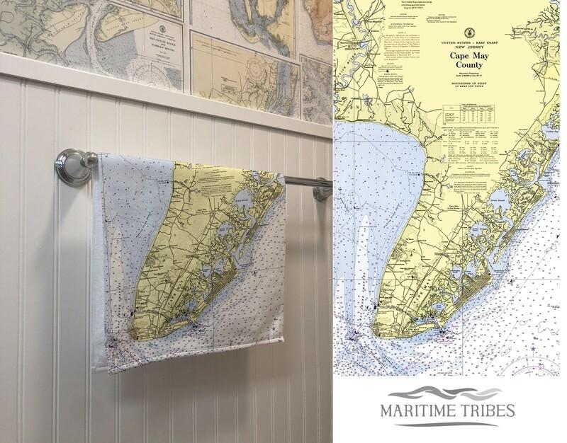 Custom Cape May Map Hand Towel